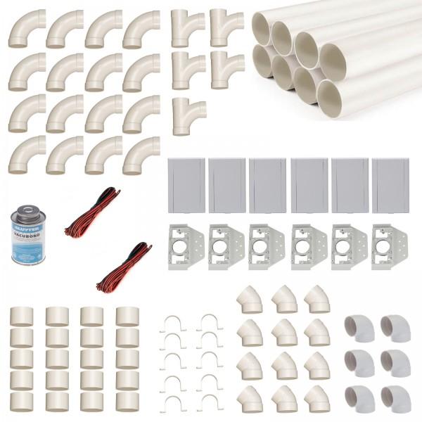 Einbau-Set für 6 Saugdosen mit Rohren